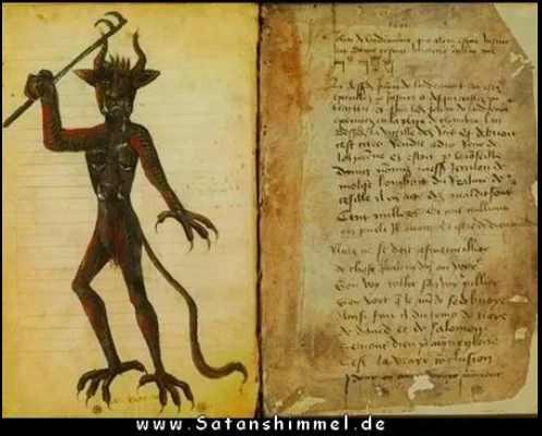 altes Magie-Buch mit Dämon