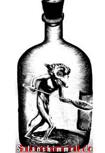 Dämon Ukobach (Collin de Plancy, Dictionnaire Infernal, Jahr 1818), als Flaschengeist (Teufel im Glas).