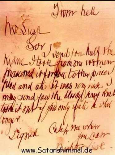 """From Hell"": Brief von Jack the Ripper aus dem Jahr 1888."