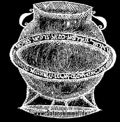 Okkulte Symbole auf dem Bronzekessel.