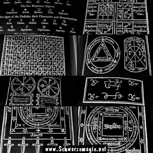Okkultismus Praktiken: Zeichen und Symbole aus alten Magie-Büchern.