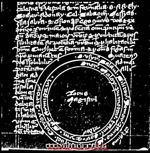 Altes Manuskript mit Schutzkreis, 16. Jahrhundert.