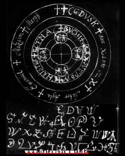 Schutzkreis für den Magier und Zaubersprüche, womit man Geister beschwören kann.