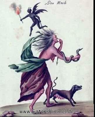 Die Todsünde Neid, dargestellt als Dämon der Hölle Leviathan.