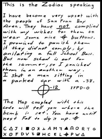 Zodiac-Killer Code per Brief am 26. Juni 1970 geschickt.
